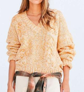 Kimchi Blue Cable V-Neck Pullover Sweater