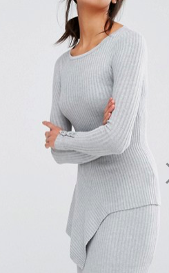 River Island Ribbed Knit Asymmetric Sweater