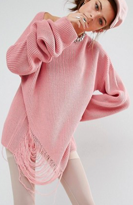 Bones Oversized Knit Sweater With Distressed Threading On Side