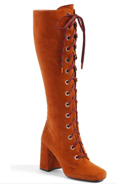 Prada Lace-Up Knee High Boot
