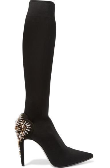 RENÉ CAOVILLA Embellished jersey knee boots