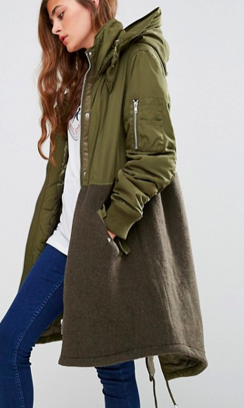 ASOS Parka in Mixed Fabric with Quilting
