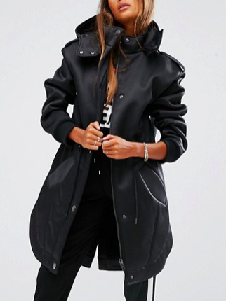 ASOS Parka in Bonded Satin and Borg