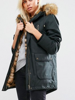ASOS Parka with Faux Tiger Fur Lining