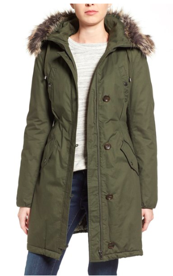 Halogen Hooded Parka with Faux Fur Trim  HALOGEN®