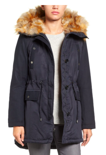 Hooded Parka with Faux Fur Trim  FRENCH CONNECTION