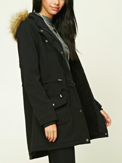 Forever 21 Faux Fur-Trimmed Utility Jacket