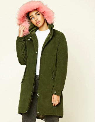 Forever 21 Faux Fur Hooded Parka Jacket