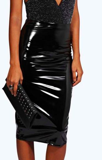 Carla High Shine Patent Midi Skirt