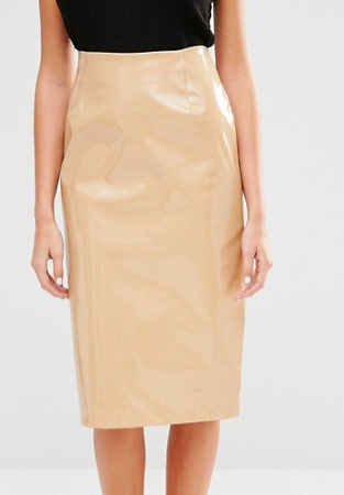 Fashion Union Patent Midi Skirt