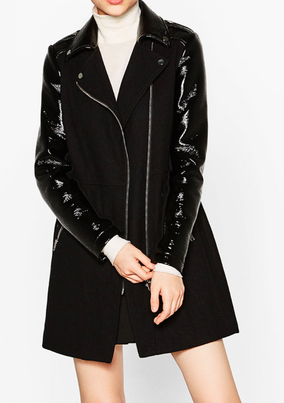 Zara patent sleeve coat