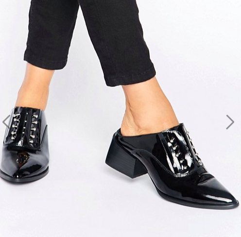 Sol Sana Claire Bar Black Patent Leather Mules
