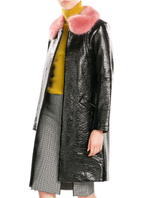 SHRIMPS  Hokus Patent Coat with Faux Fur Collar