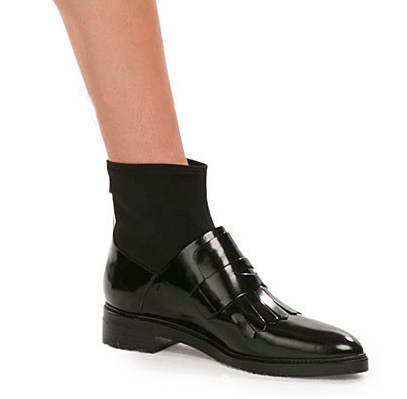 STEFFEN SCHRAUT  Patent Leather Fringed Loafer-Ankle Boots