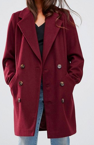 ASOS PETITE Pea Coat with Seamed Pockets