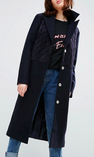 ASOS Wool Blend Coat with Quilted Velvet Panels