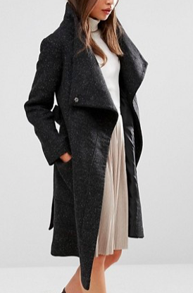 ASOS PETITE Wool Blend Coat With Funnel Neck