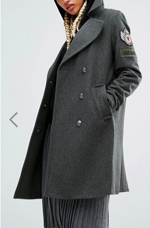 Pull&Bear Military Coat With Badge Detail