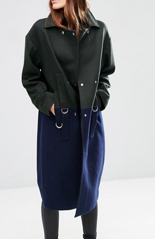 ASOS Oversized Wool Blend Coat in Color Block with D Ring Detail