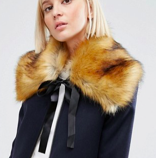 ASOS Faux Fur Ginger Tipped Collar With Ribbon Ties