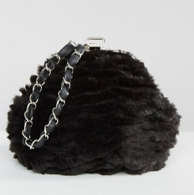 Missguided Chain Strap Faux Fur Clutch Bag