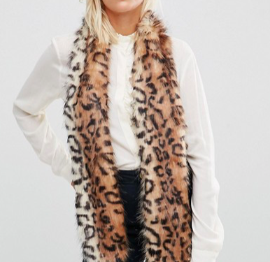 Urbancode Faux Fur Leopard Skinny Scarf With Contrast Tail