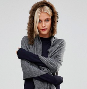 Alice Hannah Fur Trim Hooded Scarf