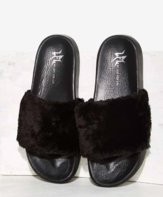 LFL by Lust For Life Fine Thanks Faux Fur Slide Sandal