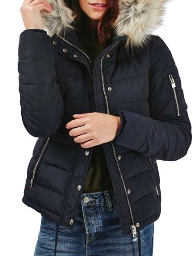Woody Faux Fur Hood Puffer Jacket  TOPSHOP