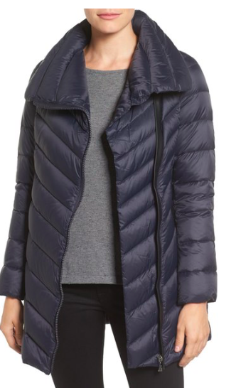 Asymmetrical Chevron Quilted Down Coat  SAM EDELMAN