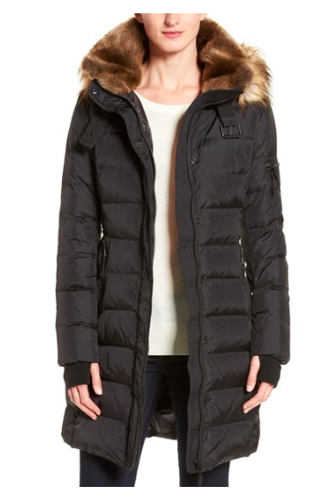 S13 'Uptown' Quilted Coat with Faux Fur Trim  S13/NYC