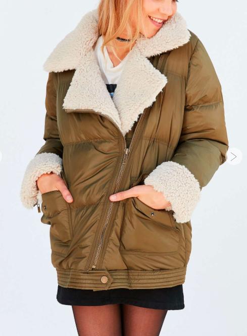 Silence + Noise Jessa Sherpa Lined Puffer Coat
