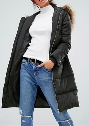 New Look Faux Fur Padded Maxi Coat