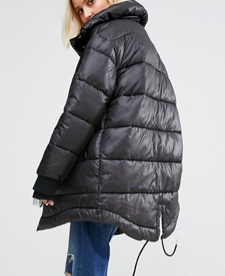 Puffa Oversized Longline Padded Jacket With Fishtail Detail