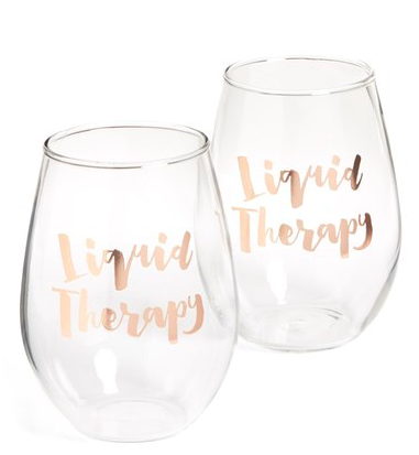 SLANT COLLECTIONS Liquid Therapy Set of 2 Stemless Wine Glasses