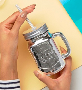 New Look Shiny Plated Glass Jar