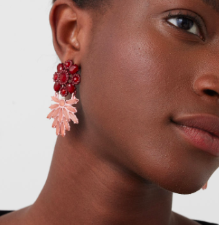 Mango pink floral earrings