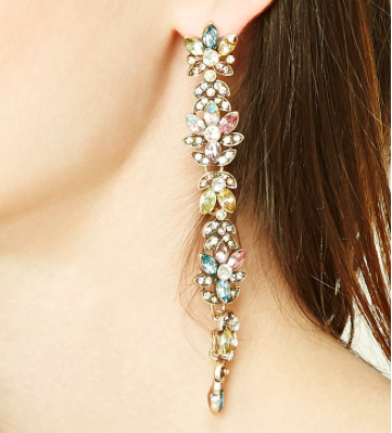 Forever 21 Floral Faux Gem Drop Earrings