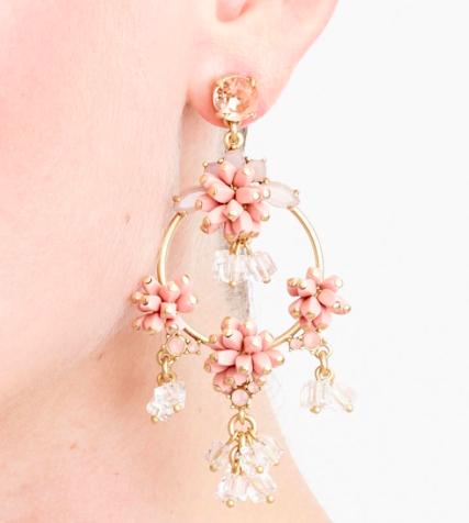 JCREW FLORAL HOOP EARRINGS