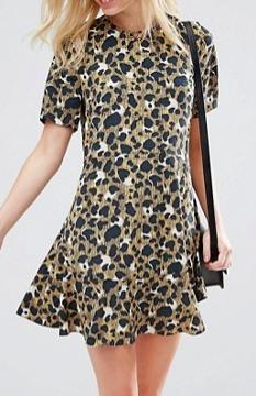ASOS PETITE Drop Waist Dress In Animal Print