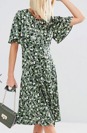 ASOS Midi Tea Dress in Animal Print
