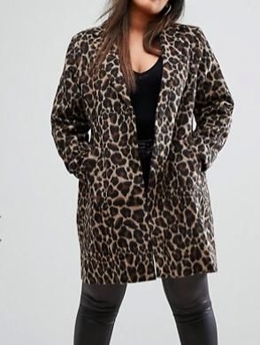 River Island Plus Leopard Print Coat