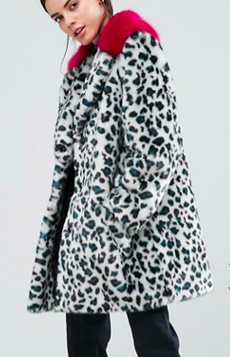 ASOS PETITE Faux Fur Coat in Leopard Print with Bright Collar