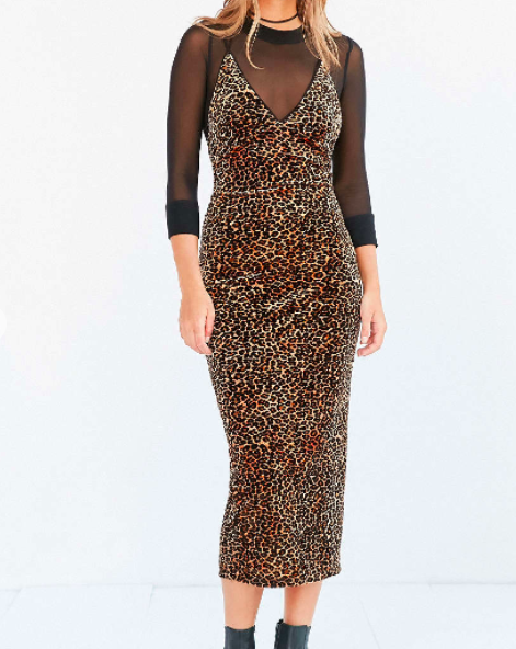 Ecote Bellatrix Velvet Bodycon Midi Dress