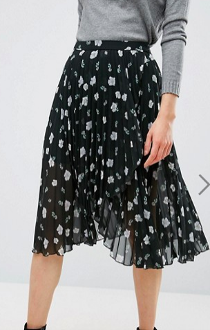 ASOS Pleated Midi Skirt with Wrap Front Detail in Floral Print