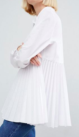 ASOS WHITE Oversize Shirt with Pleat Detail