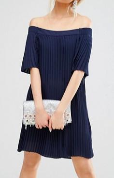 ASOS Off Shoulder Pleated Dress