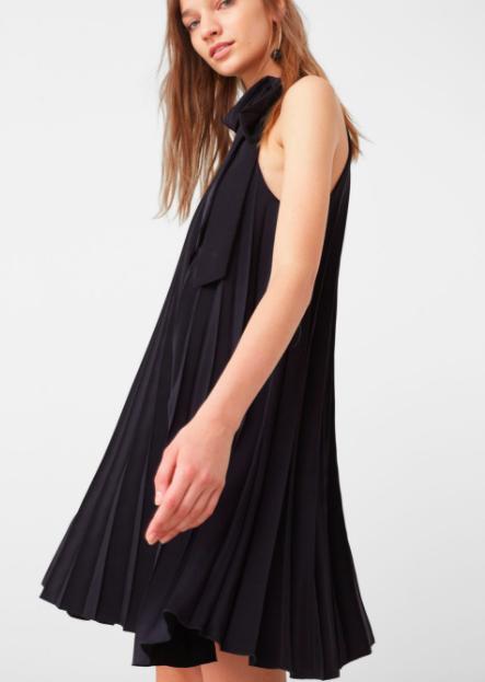Mango sleeveless pleated dress