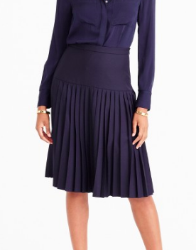 Jcrew Drop-waist pleated skirt in Super 120s wool