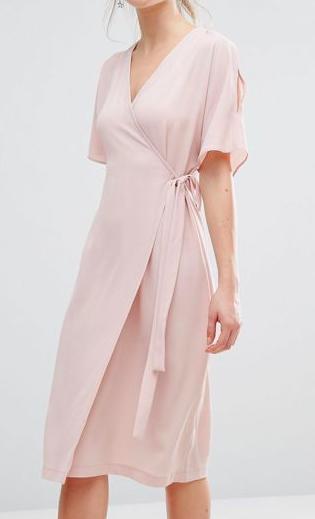 New Look Cold Shoulder Wrap Midi Dress
